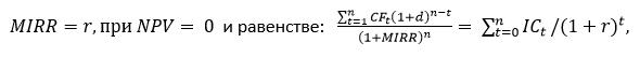 Формула MIRR